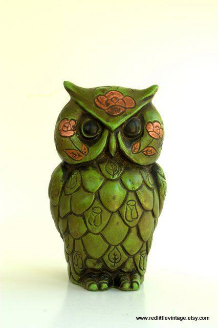 Vintage Green Owl Piggy Bank Retro Home Decor by RedLittleVintage, $25.00