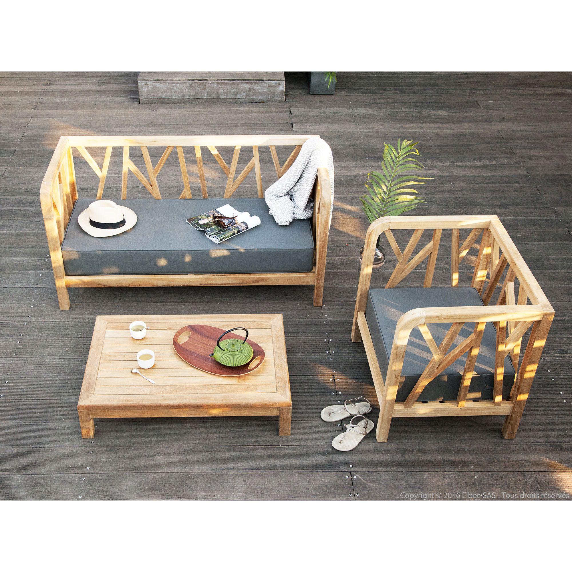 Salon de jardin Teck Brut : 1 canapé + 1 fauteuil + table ...