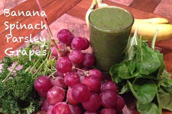 Red Globe Grape Green Smoothie  1 Banana 2 cups Spinach 2 cups Globe Grapes 1 handful of Parsley 4 ounces filtered water