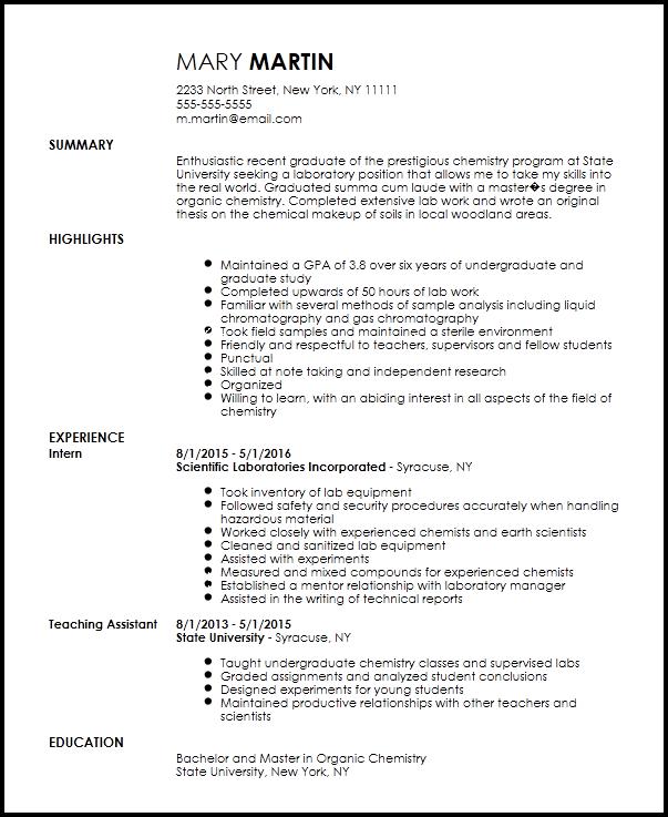 Cv Template Chemistry Chemistry Cvtemplate Template Job Resume Samples Medical Resume Template Resume Examples