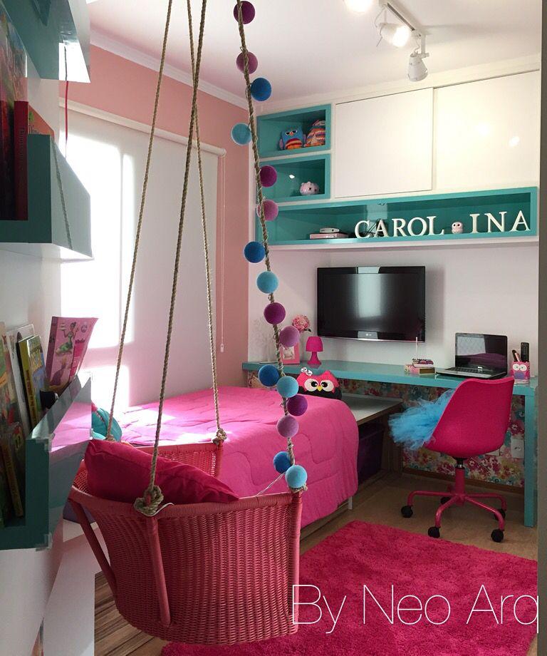 quarto infantil com balan o bancada de estudos e bicama quarto de menina girl bedroom. Black Bedroom Furniture Sets. Home Design Ideas
