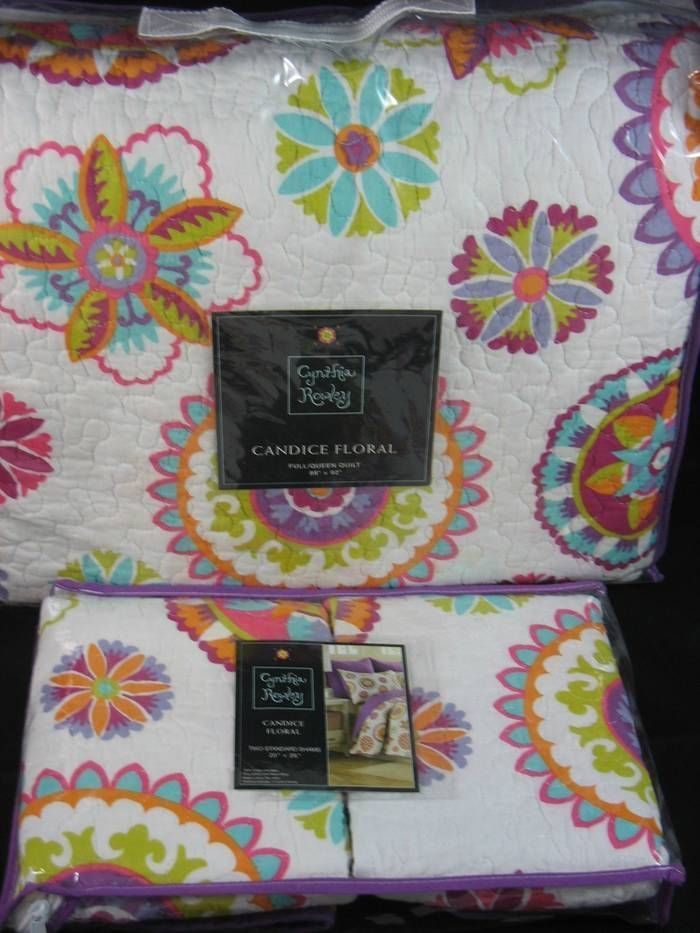 Cynthia Rowley CANDICE FLORAL Medallions 3PC Full Queen Quilt Set Pink Purple #CynthiaRowley #Contemporary