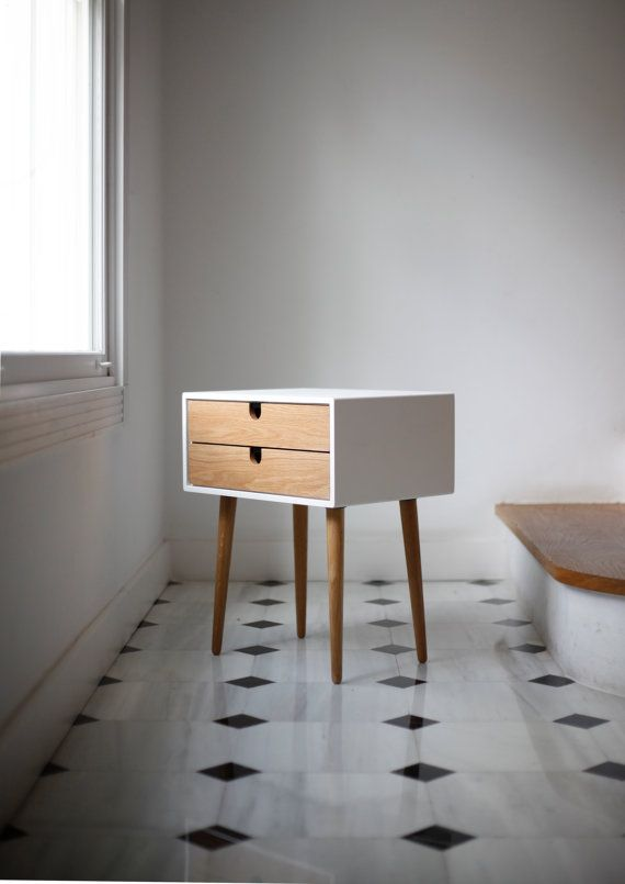 Retro Style Container Bedside Table: White Nightstand / Bedside Table, Scandinavian Mid-Century