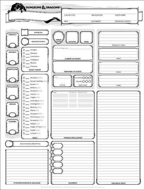 photo regarding Printable Dnd Character Sheet referred to as dungeons and dragons persona sheet 5th ed Choose It In this article