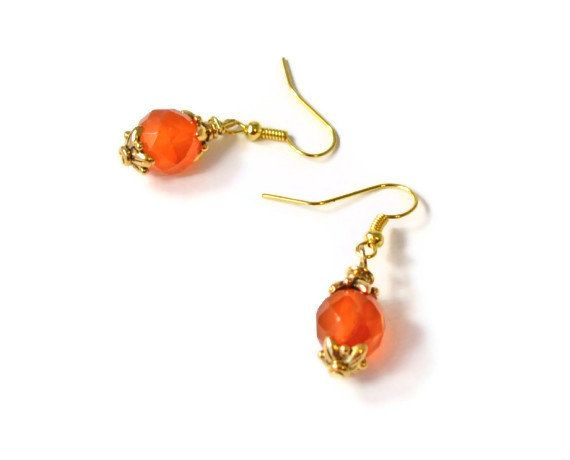 Burnt Orange Glass Beaded Earrings Beaded Jewelry by BeadsNStyle, $9.25