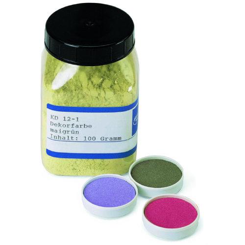 Diese aus feinst geriebenen Pigmenten hergestellten Farben lassen sich mit Wasser leicht anlösen. Der konturenscharfe Auftrag mittels Pinsel oder Stempel ist einfach und problemlos. Die Keramik-Dekorfarben sind sehr ergiebig und alle untereinander mischbar, so dass Sie durch Mischen eine hohe Farbenzahl erzielen können. Die Farben sind sowohl für die Unterglasur- als auch für die Majolikatechnik verwendbar. Bei Unterglasur wird direkt auf den geschrühten Scherben gemalt, bei Majolika wird die De