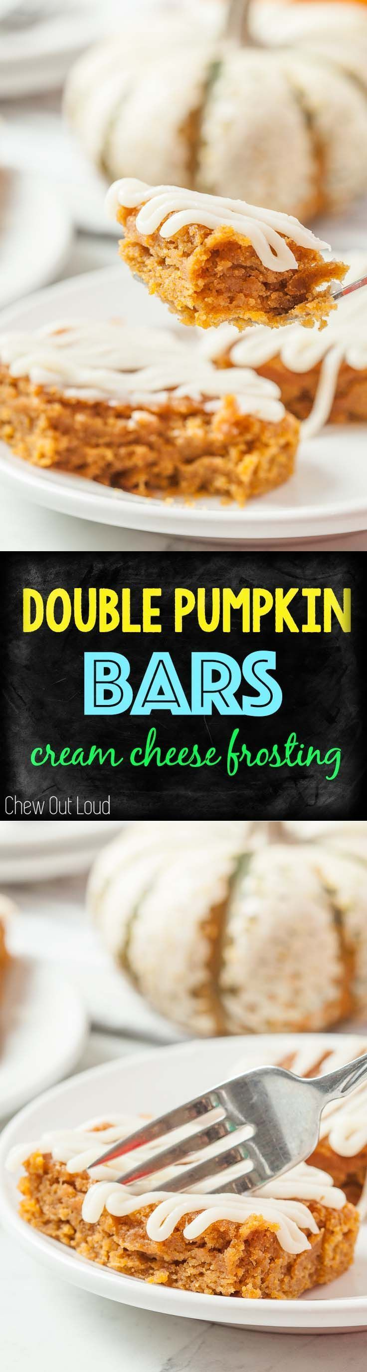 Double Pumpkin Bars With Cream Cheese Frosting  Chewy Moist