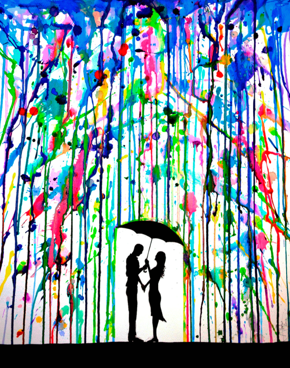 Colorful Dripping Wet Ink Drawings  Made with colored inks.  The girl, umbrella and ground are stencils.  Cover the stencilled area with tape (low tack) and then splatter inks or watered down paints onto the canvas and allow the paints to dribble down the canvas as if colored rain.  This would make a wonderful gift for someone who likes art.
