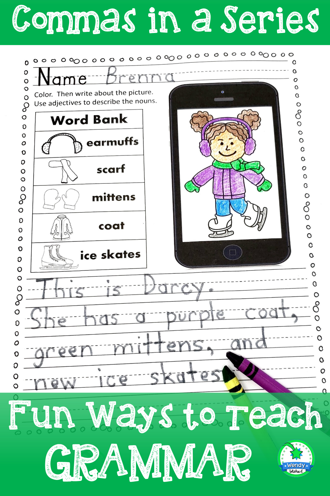 Winter Writing Commas In A Series Worksheets