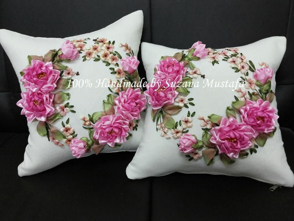 Ribbon embroidery pillow ribbonwork pinterest