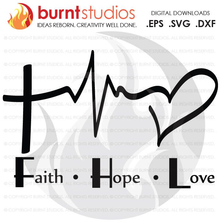Download Digital File, Faith Love Hope Heartbeat, Cross, Christian ...