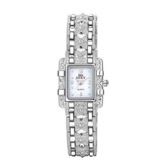 a9ffa57f52d Luxusní třpytivé dámské hodinky ve stříbrném barevném provedení se zirkony  a bílým ciferníkem Na tento produkt se vztahuje nejen zajímavá sleva