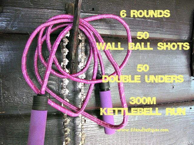 A heart-pumping workout using a medicine ball, jump rope and a kettlebell. Takes about 30 minutes to complete.