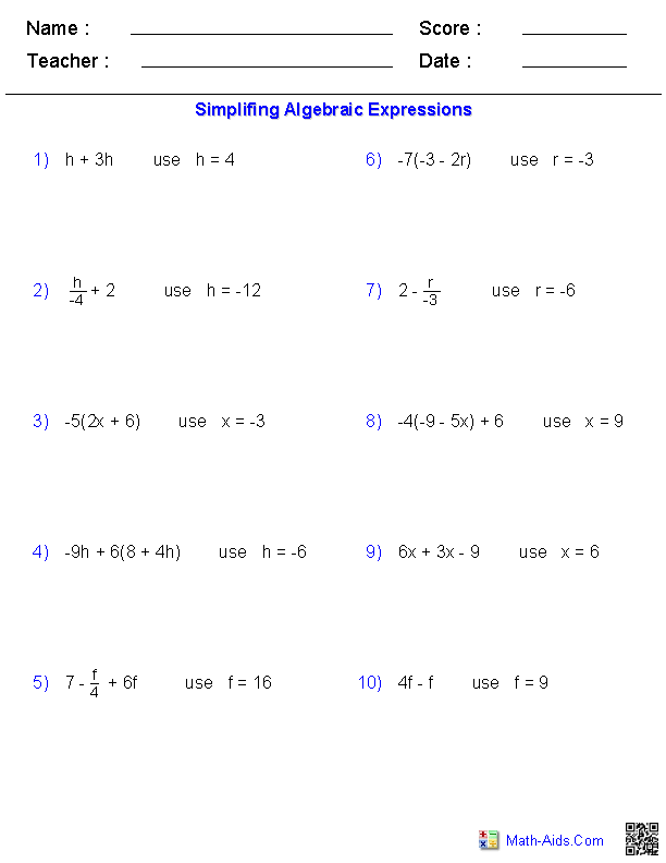 Evaluating One Variable Worksheets | Math-Aids.Com | Pinterest ...