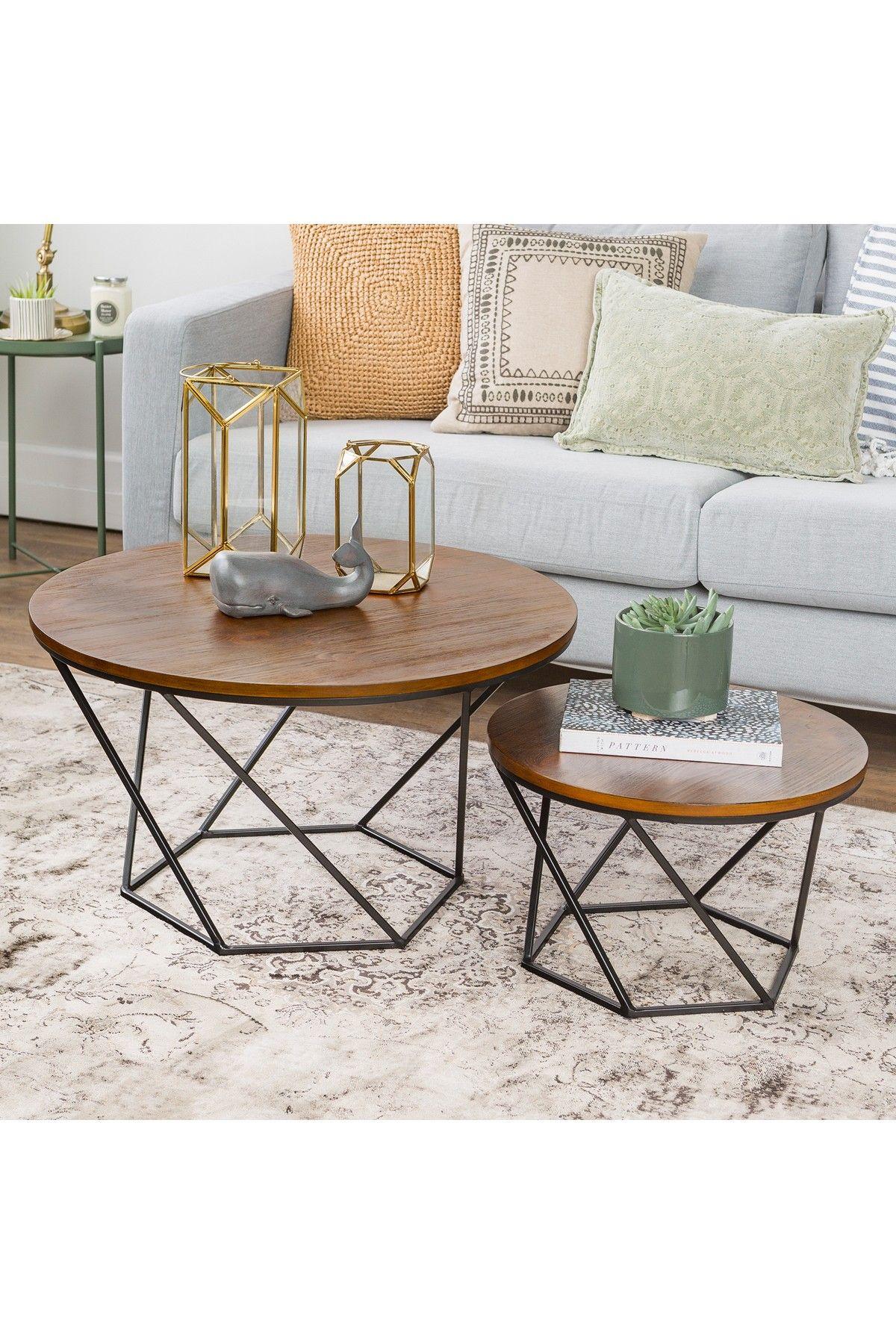 Walker Edison Furniture Company Oak Black Geometric Wood Nesting Coffee Tables Nesting Coffee Tables Geometric Coffee Table Coffee Table [ 1800 x 1200 Pixel ]