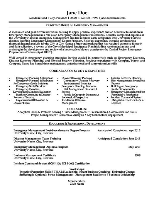 Emergency Management Resume Template