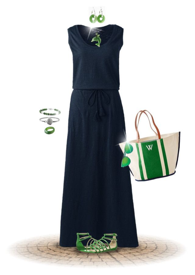"""""""Navy & Jade"""" by joy2thahworld ❤ liked on Polyvore featuring Lands' End, Nine West, Mark & Graham, BillyTheTree, Christian Dior, navy, jade, maxi and billythetree"""