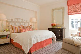 Beige & Coral Bedroom - Little Green Notebook: Fabric Shades Galore ...