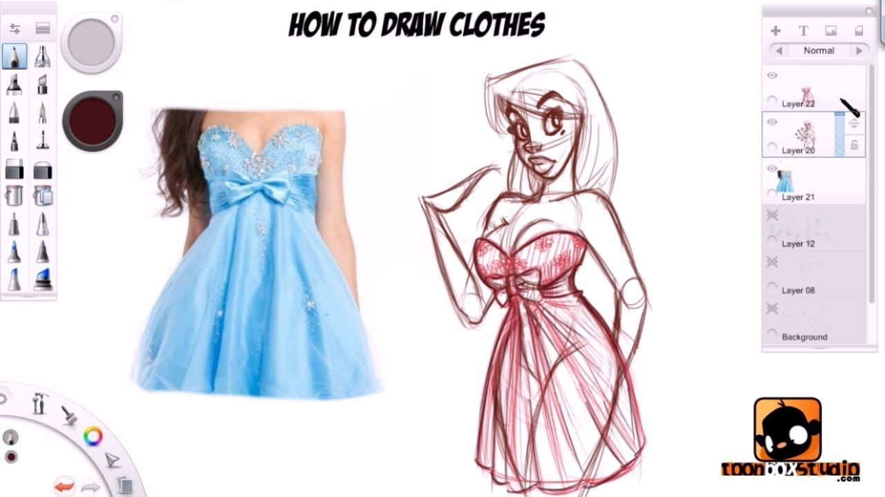 how to draw clothes tutorial by paris christou using a cintiq and
