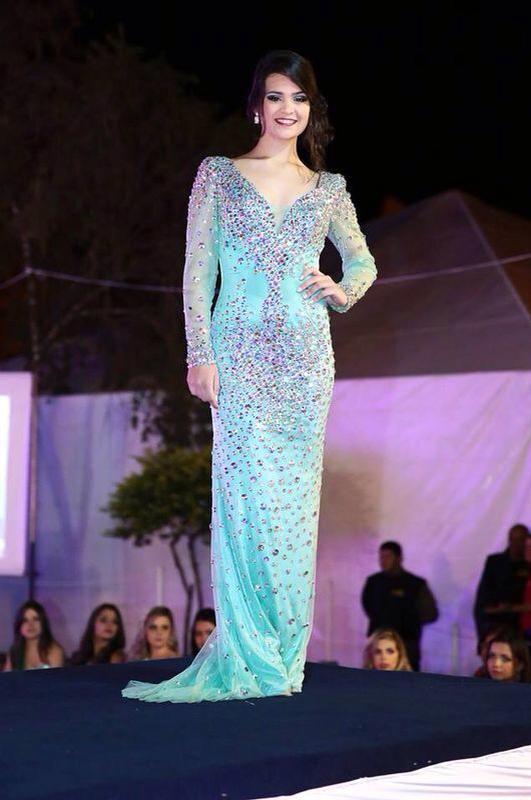 Vestido de pedraria azul com calda - frozen