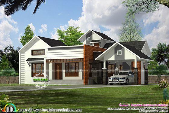 1841 Sq Ft Single Floor 3 Bedroom Plan Evergreen House Single Floor House Design House Design