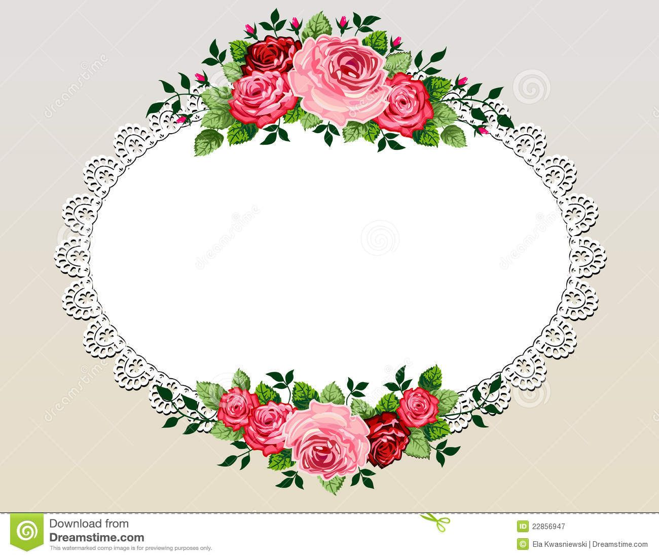 Vintage Roses Bouquet Frame Royalty Free Stock Photography