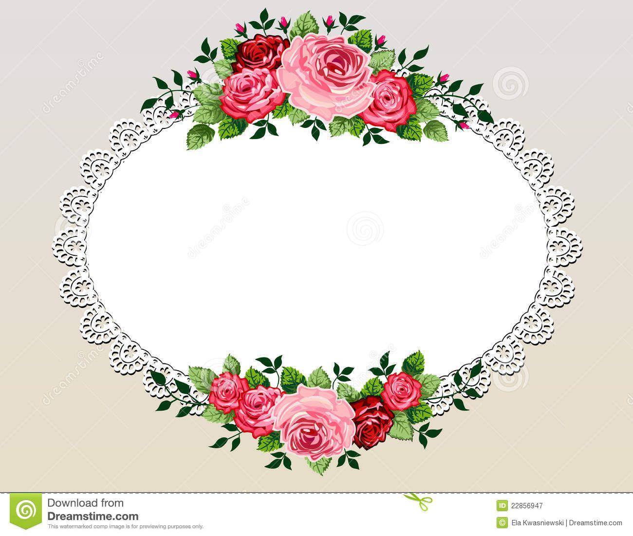 Vintage Roses Bouquet Frame Flower Illustration Flower Frame Vintage Rose Bouquet