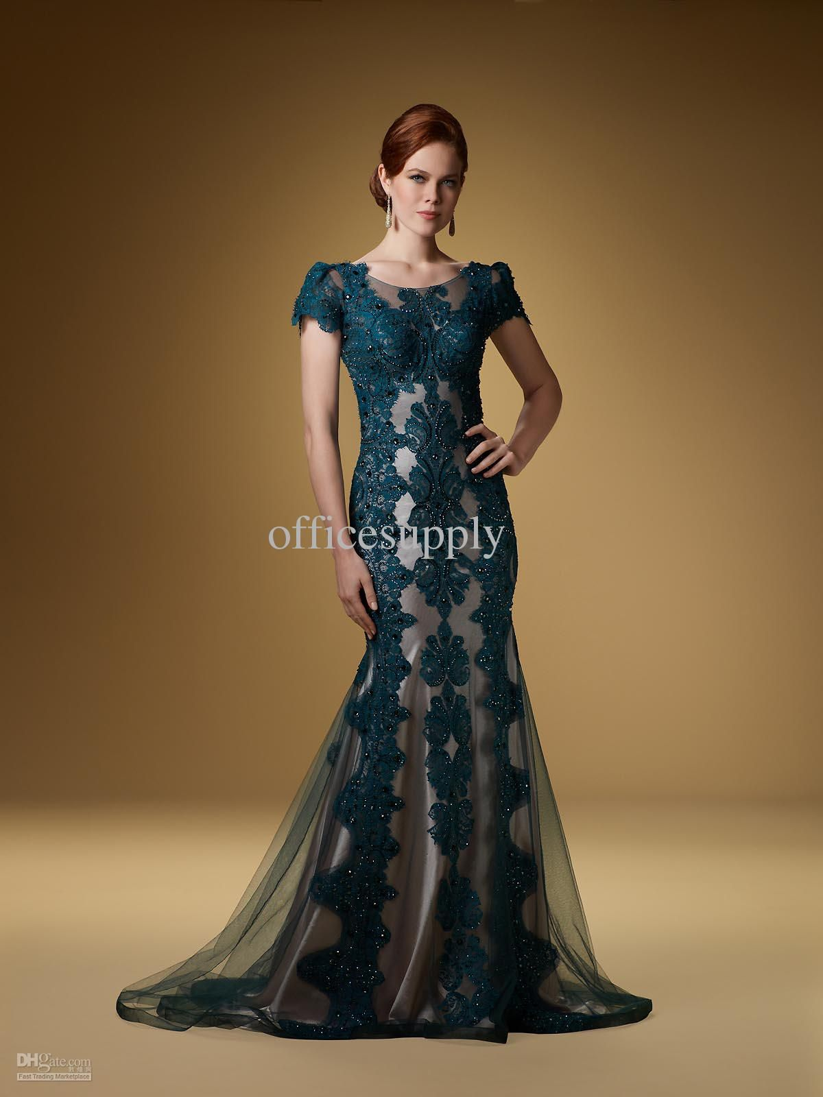 Wholesale Green Cap Sleeve Applique Evening Dresses Gown with Lace