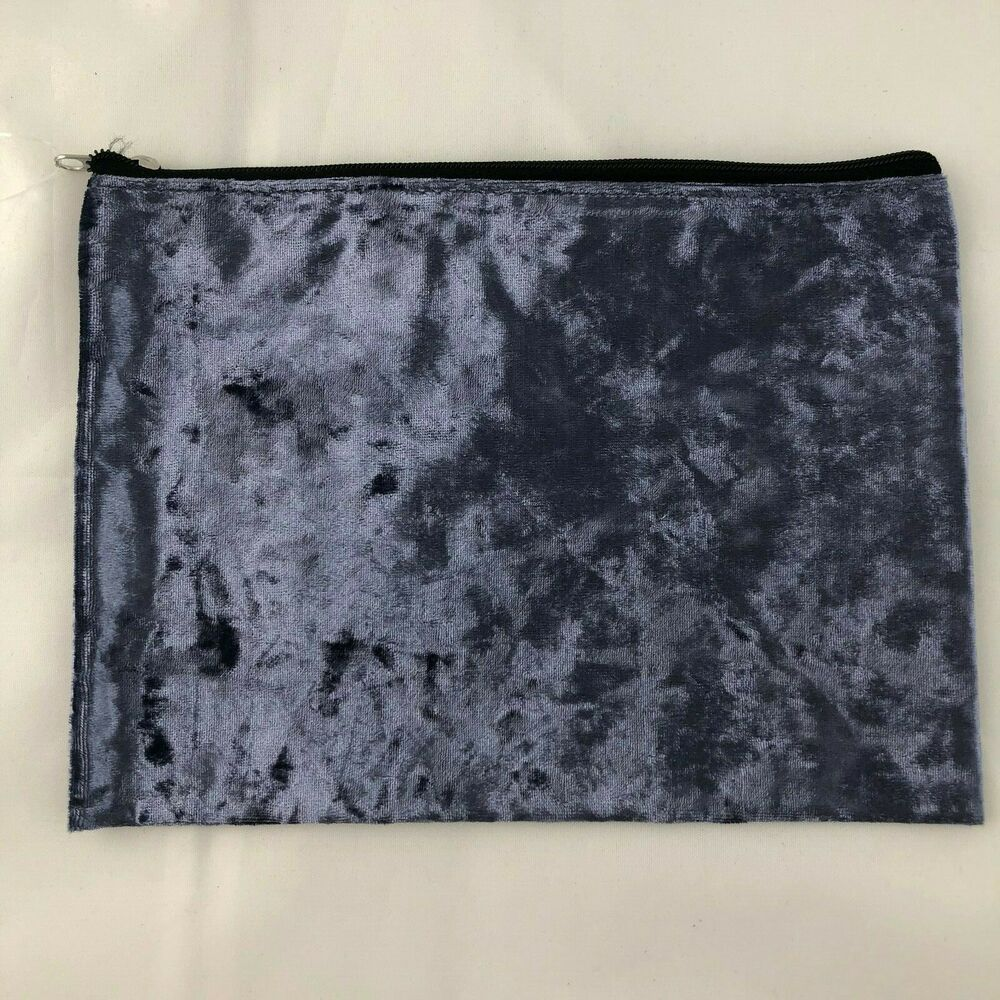 New Purple Crushed Velvet Cosmetics Makeup Bag Pouch Goth