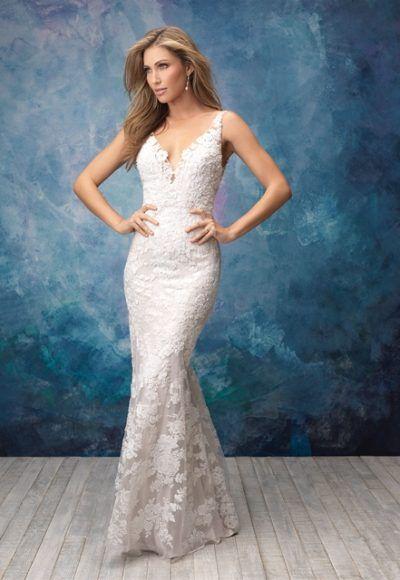 V Neck Sleeveless Lace Sheath Wedding Dress By Allure Bridals