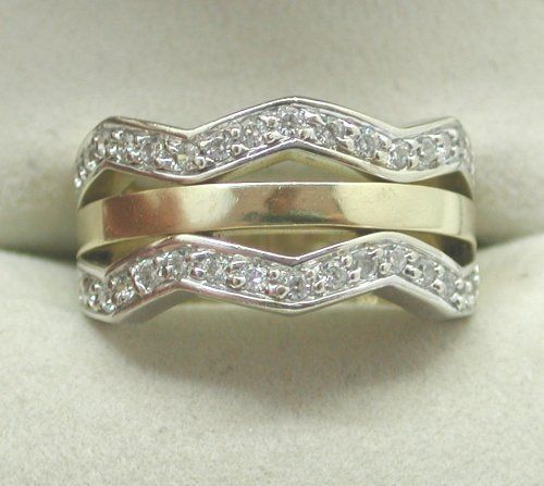 Heavy-14ct-Two-Colour-Gold-Diamond-Dress-Ring