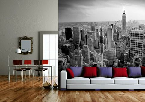New york city wallpaper murals for modern living room for New york style curtains