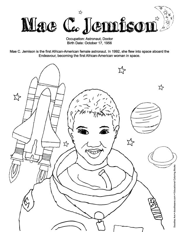 Mae C Jemison Coloring Pages Black History Lesson Doodles