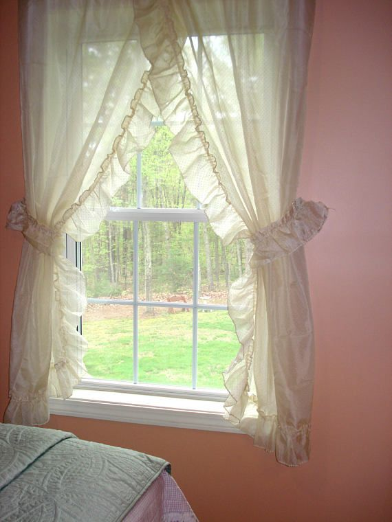 One Lovely Ivory Sheer Swiss Dot Priscilla Curtain With Tie
