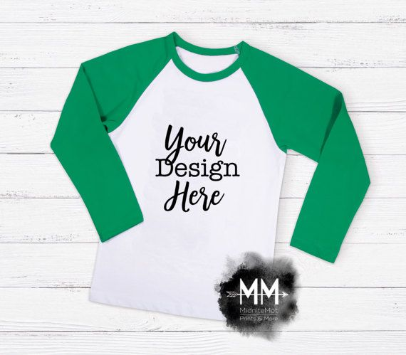 5a3df0eb2 Raglan T-Shirt Mockup, Green Sleeve Shirt Display, Long Sleeve White T-Shirt,  Apparel Display, St Pa