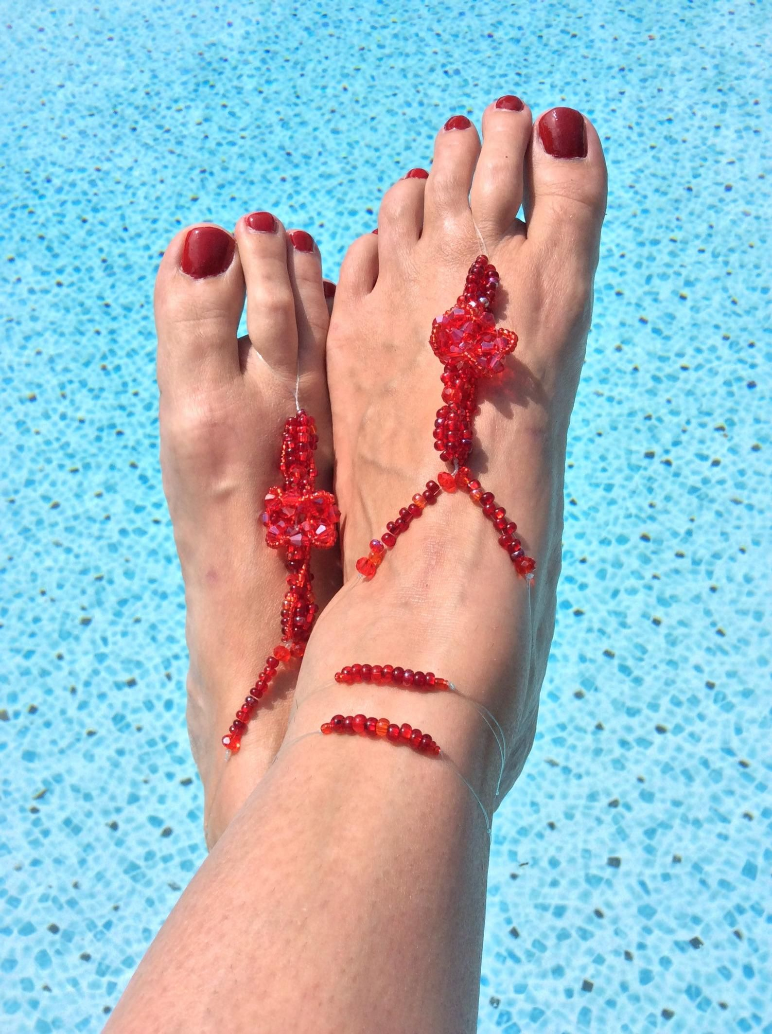 Barefoot Sandals Royal Red | Etsy