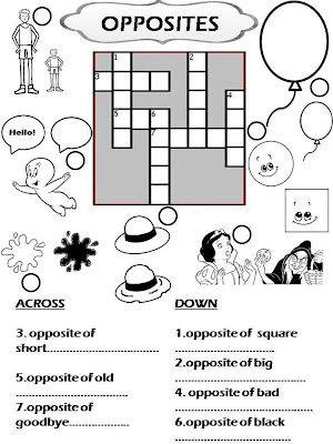 Crossword Opposites Crossword Puzzles Free Printable Crossword Puzzles Printable Crossword Puzzles Free printable opposites worksheets for