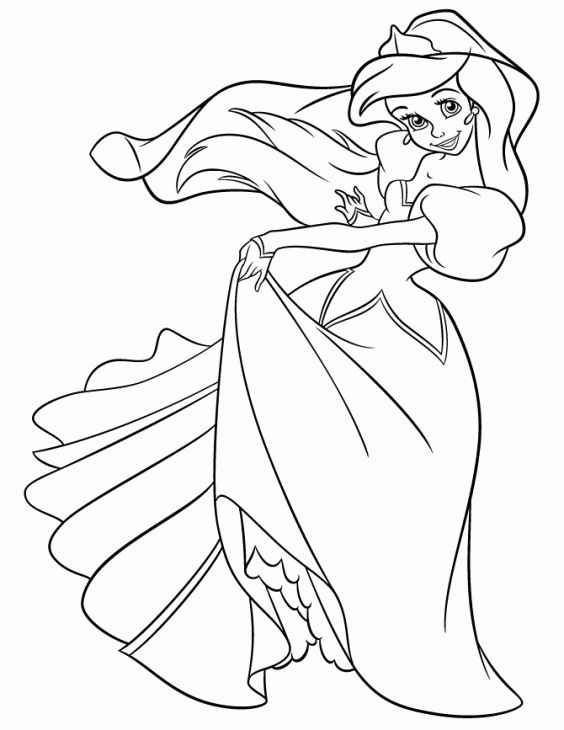 Free Online Disney Princess Ariel Dancing Coloring Page Disney