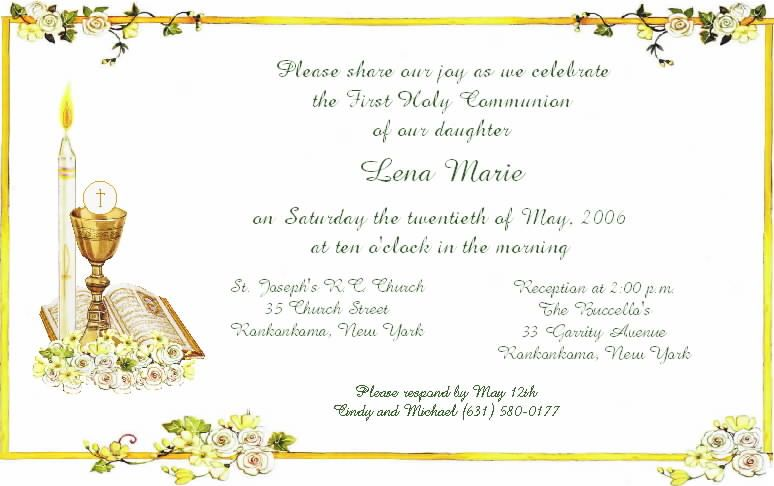Invitation Cards For First Holy Communion