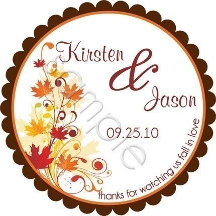 Fall Leaves Wedding Personalized Stickers Favor Labels Gift Tag