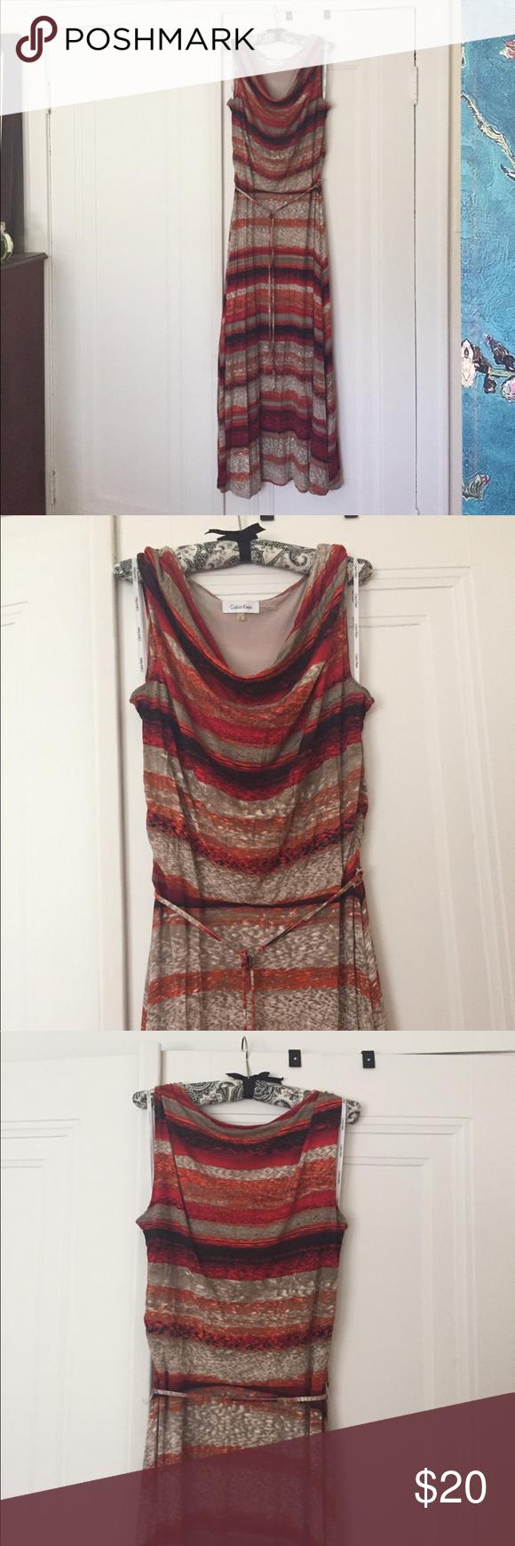 Calvin Klein maxi dress, size medium Drape neck, belted CK maxi in beautiful summer stripe. Rayon. Top is lined. Calvin Klein Dresses Maxi