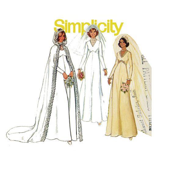 Wedding Dress Pattern Simplicity 7284 1970s Renaissance High Waist ...