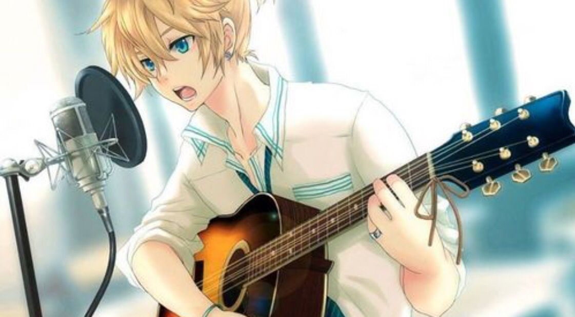 Anime Guy Playing Guitar And Singing Me Falling In Love A