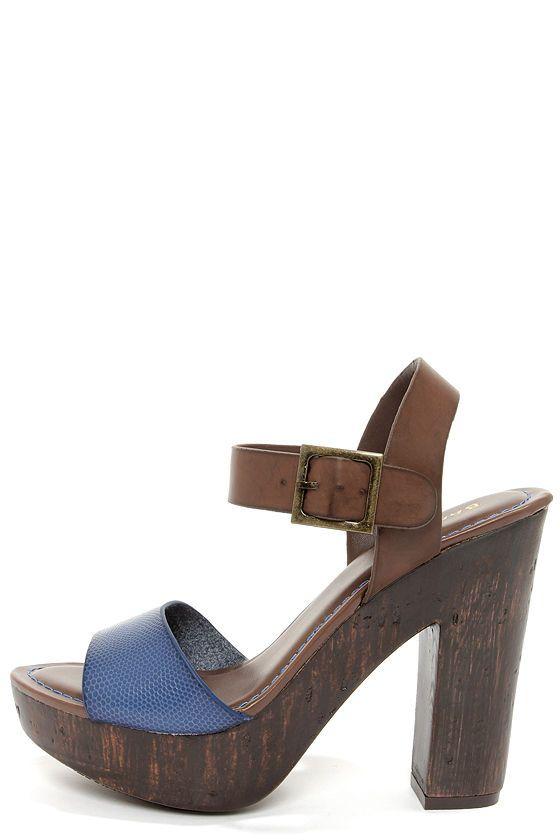 ce4d60a7e2e ermahgerd DO WANT. Bamboo Fabiola 05 Blue Snake Platform Sandals at ...