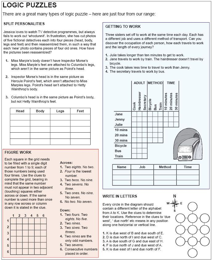 Logic Puzzle Examples 154Kb Logic puzzles, Math logic