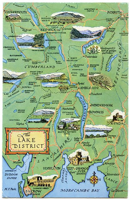 Postcard map of the Lake District  Lake district Lakes and Cumbria