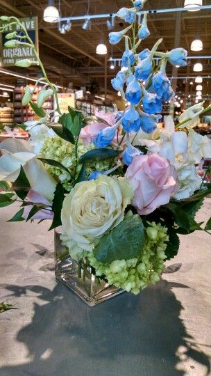 Roses, hydrangea, delphinium