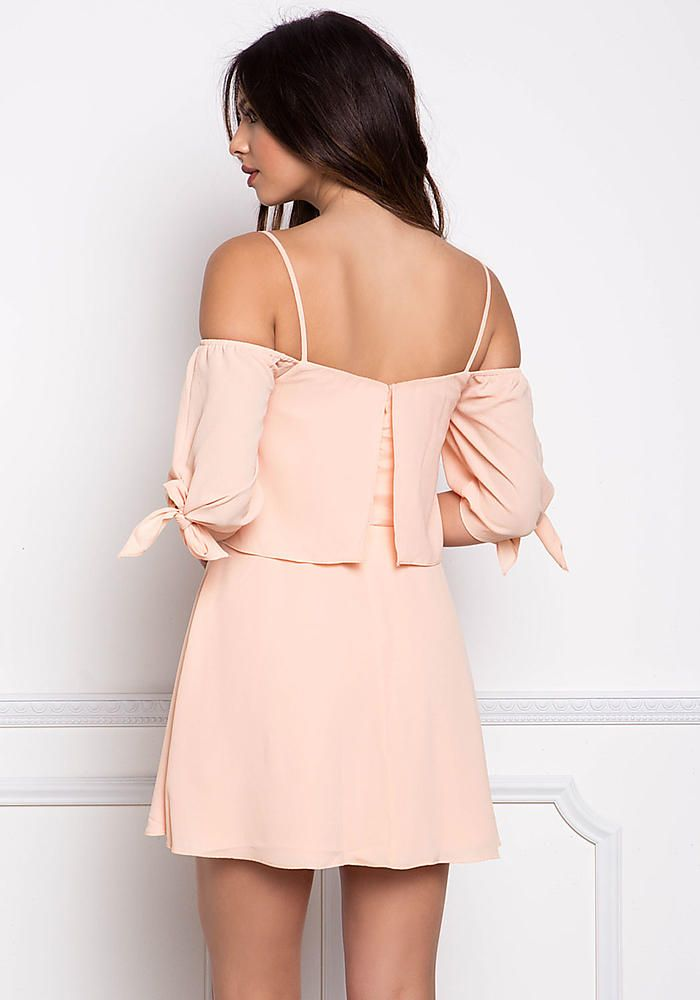 Salmon Layered Cold Shoulder Tie Strap Dress - Going Out - Dresses