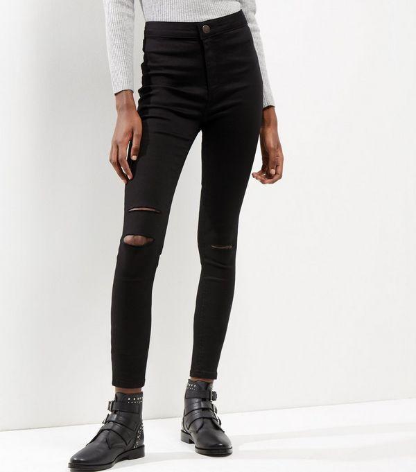 Black Ripped Knee High Waist Super Skinny Hallie Jeans | Shops ...