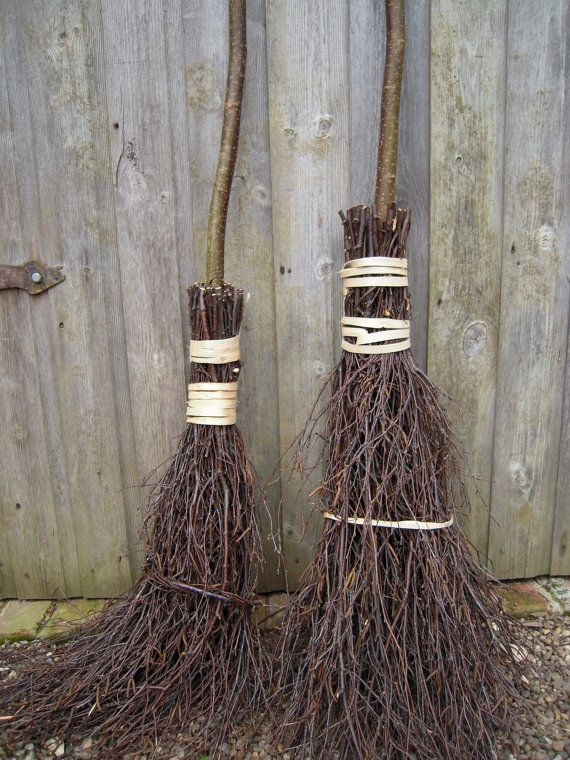 Traditional Besom Broom Hazel Handle Silver By